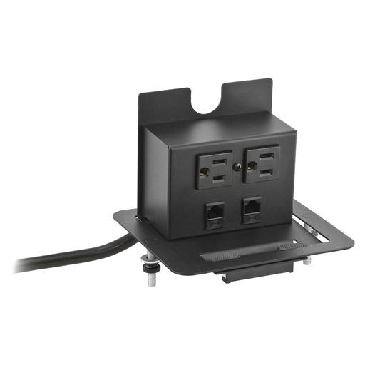 Furniture Connectivity Boxes, Work Surface, Flip Up , 2) Power, 1) 1-Unit Data, Black