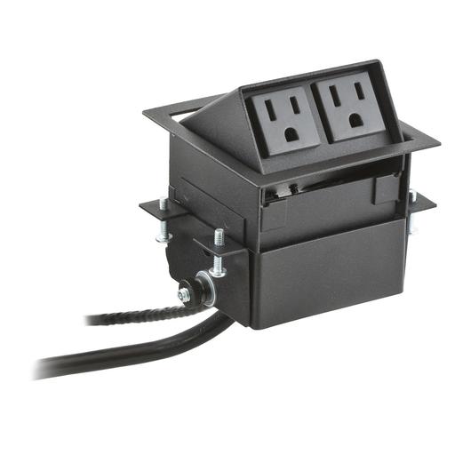 Furniture Connectivity Boxes, Work Surface, Flip Up Mini, 2) Power Black