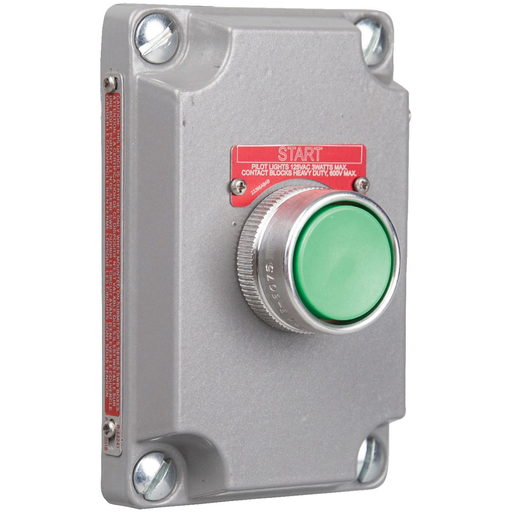 "XCS SERIES - ALUMINUM MOMENTARY CONTACT SINGLE PUSH BUTTON COVER WITHDEVICE - GREEN BUTTON WITH ""START"" NAMEPLATE - 1NO CONTACT RATING"