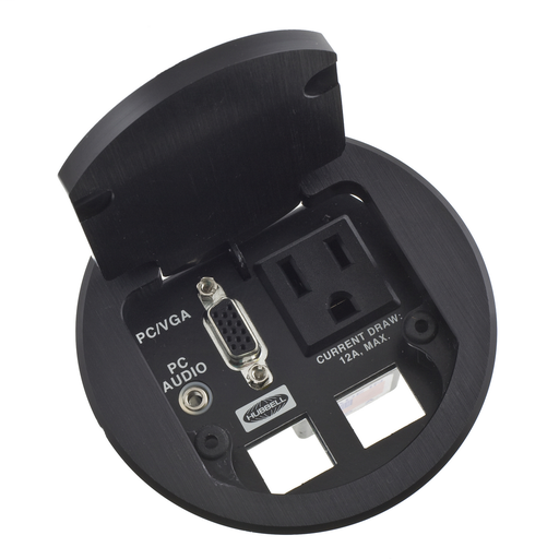 Delivery Systems, Table Top Boxes, Dual Service, 1) Outlet, Black
