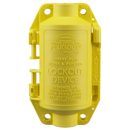 Twist-Lock® Devices, Accessories, PLUGOUT® Lockout device for attachable 20 and 30A plugs, straight body or angle types, with or without weatherproof covers, Yellow