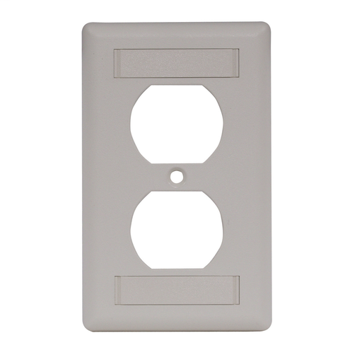 Wallplate, IFP Duplex Cover Plate with Label Fields, Single-Gang, Office White
