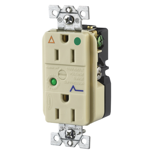 Hubbell Wiring Device Kellems, Hospital Grade Surge SuppressionReceptacle, Isolated Ground, 15A 125V, 5-15R, Ivory