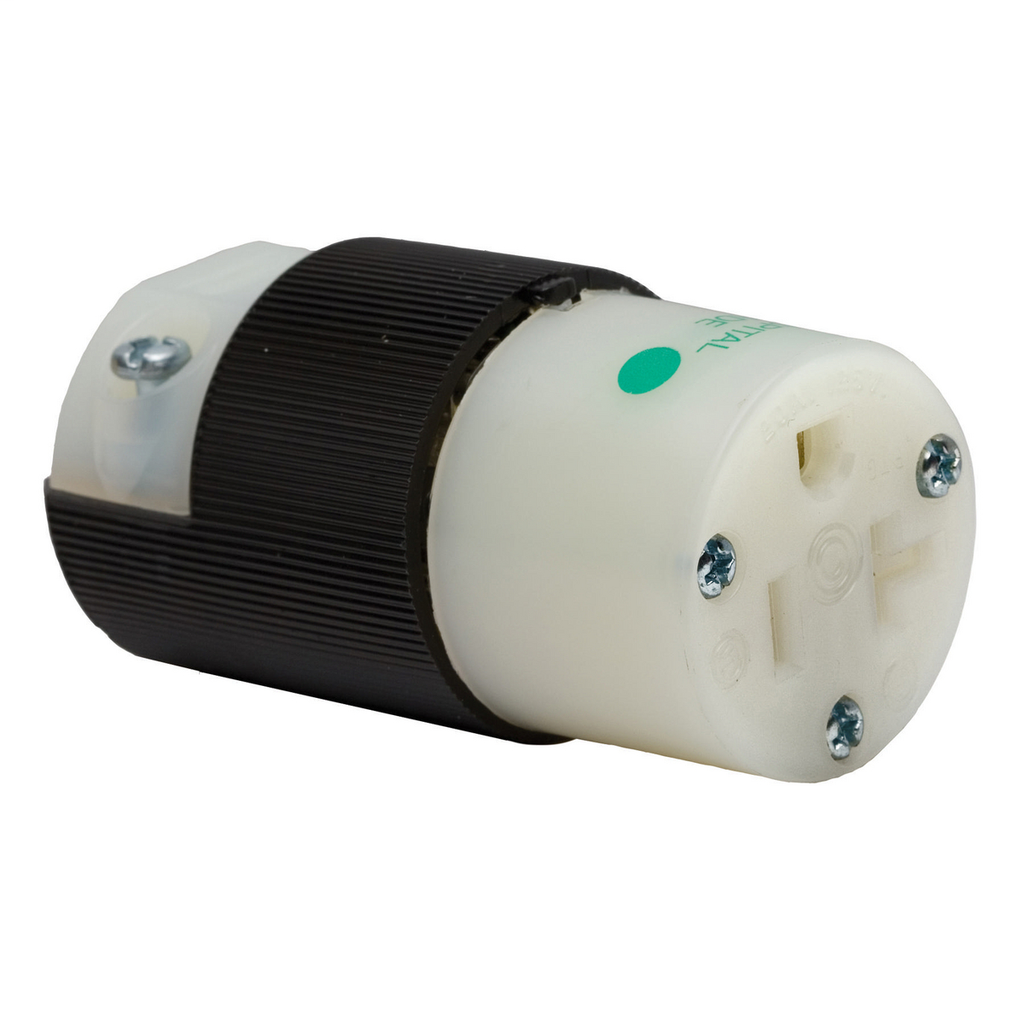 Hubbell Wiring Devices HBL8319C 20 Amp 125 Volt 2-Pole 3-Wire NEMA 5-20R Black/White Nylon Straight Blade Device Connector Body