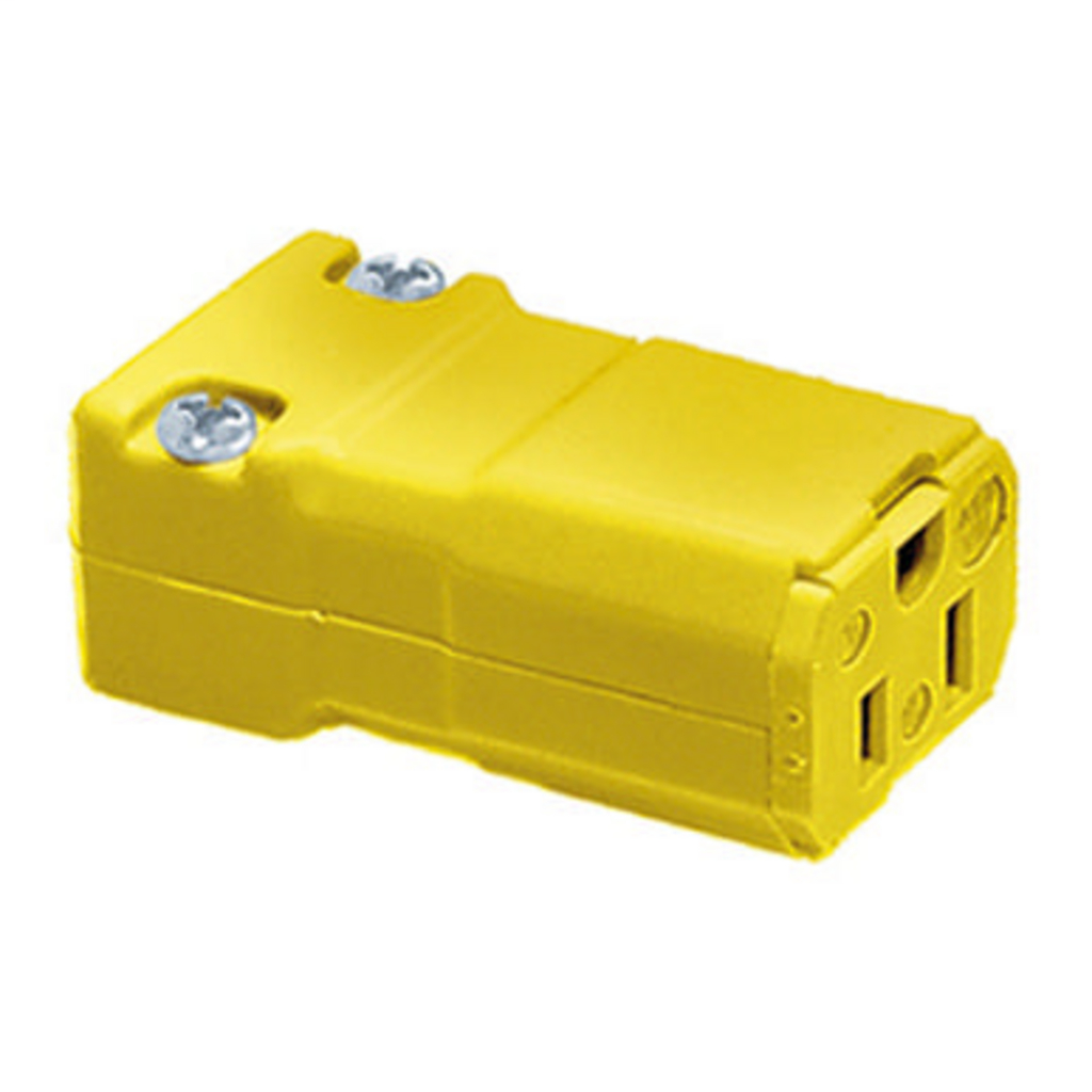 Hubbell Wiring Devices HBL5969VY 15 Amp 125 Volt 2-Pole 3-Wire NEMA 5-15R Yellow Nylon Straight Blade Device Connector Body
