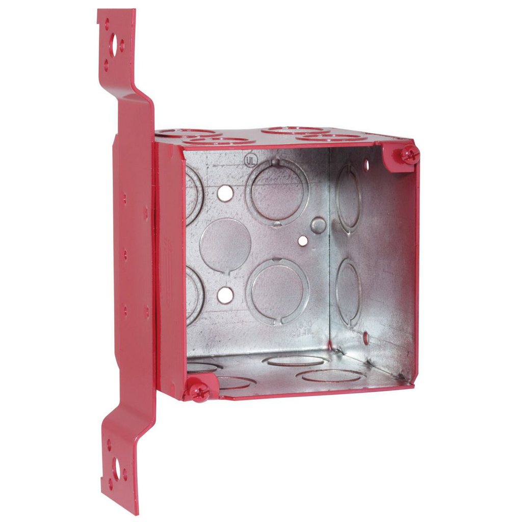 RACO 911-1 4 x 4 x 3-1/2 Inch 40.5 In Painted Red Pre-Galvanized Steel FM Bracket Flush/Ceiling/Wall Mount Welded Square Box