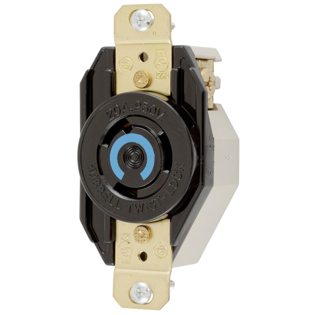 Hubbell Wiring Devices HBL2320 20 Amp 250 Volt 2-Pole 3-Wire NEMA L6-20R Black Single Flush Locking Receptacle