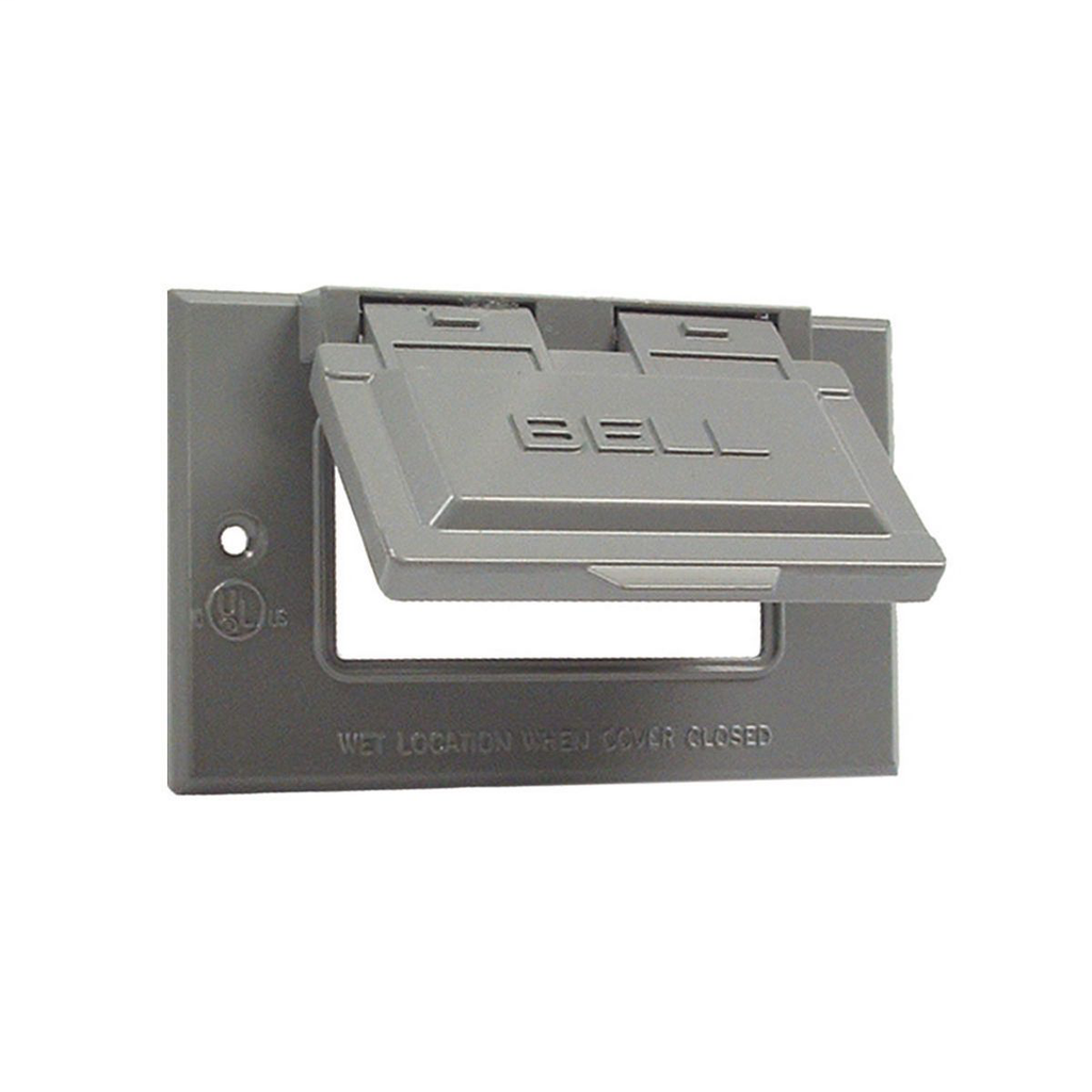 Bell 5101-0 Gray Die-Cast Aluminum 1-Gang Self-Closing Weatherproof Outlet Box Cover with Gasket