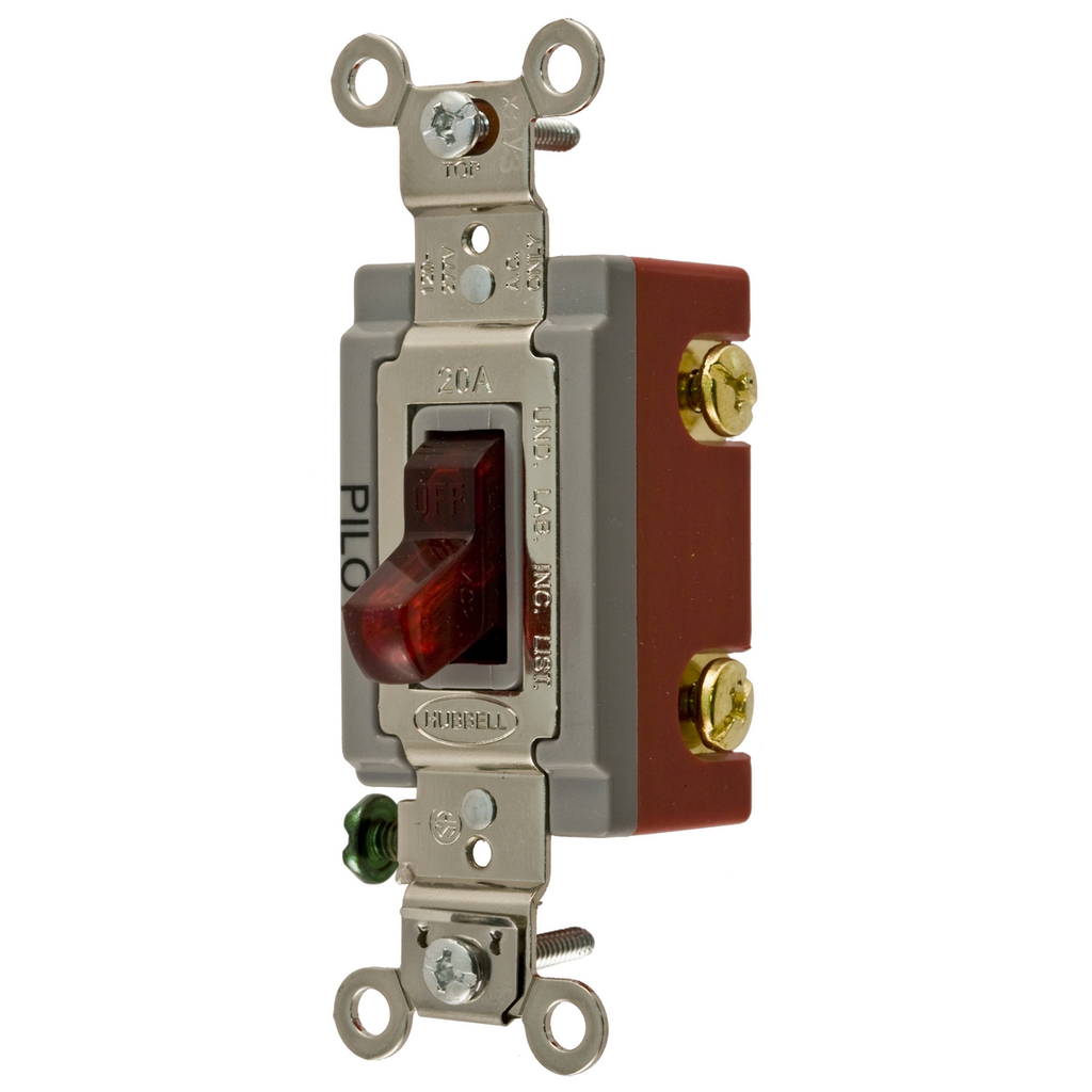 Hubbell Wiring Devices HBL1221PL 20 Amp 120/277 VAC 1-Pole Red Toggle Switch