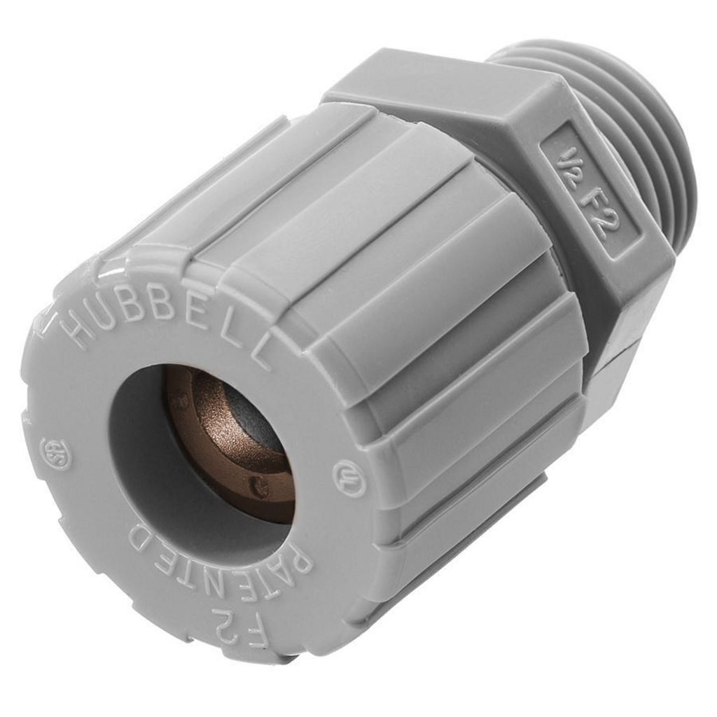 Hubbell Wiring Devices SHC1024CR 1/2 Inch Male Threaded 0.5 to 0.63 Inch Gray Nylon Straight Cord Connector