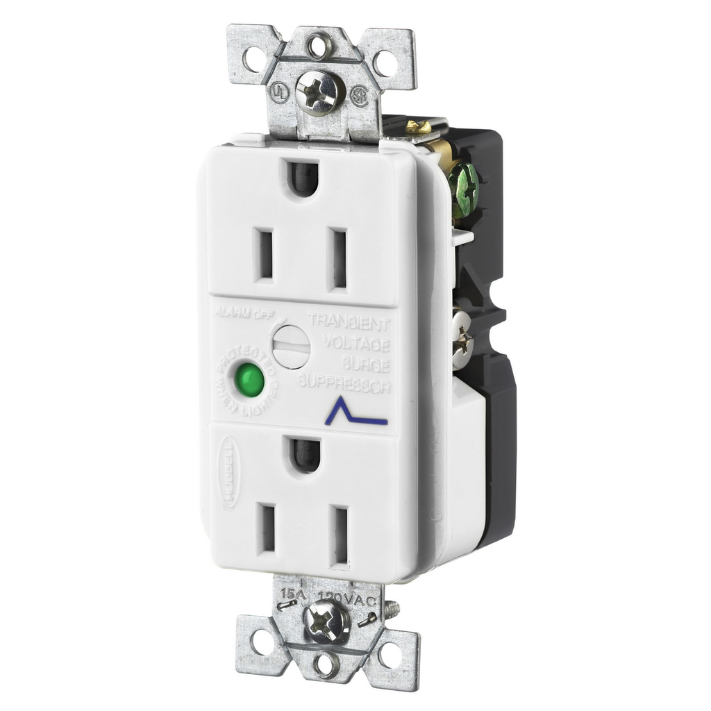 Hubbell Wiring Devices HBL5262WSA 15 Amp 125 Volt 2-Pole 3-Wire NEMA 5-15R Office White Duplex Surge Suppression Receptacle
