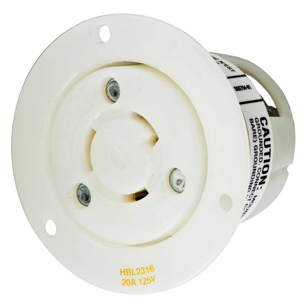 Hubbell Wiring Devices HBL2316 20 Amp 125 Volt 2-Pole 3-Wire NEMA L5-20R White Locking Flanged Receptacle