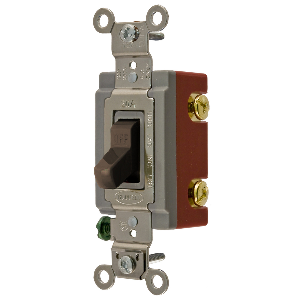 Hubbell Wiring Devices HBL1221 20 Amp 120/277 VAC 1-Pole Brown Toggle Switch