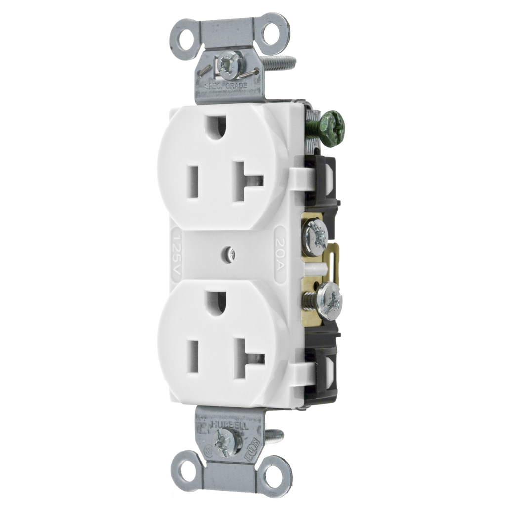 Hubbell Wiring Devices CR20WHI 20 Amp 125 Volt 2-Pole 3-Wire NEMA 5-20R White Straight Blade Duplex Receptacle