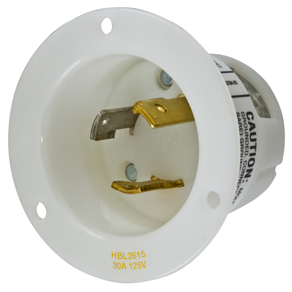 Hubbell Wiring Devices HBL2615 30 Amp 125 Volt 2-Pole 3-Wire NEMA L5-30P White Locking Flanged Inlet