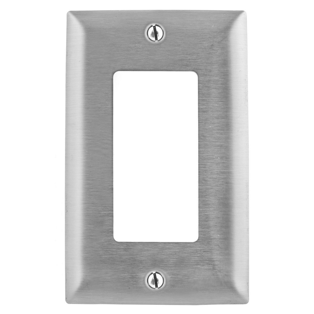 Hubbell Wiring Devices SS26L 1-Gang Stainless Steel 1-Decorator Switch Screw Mount Wallplate