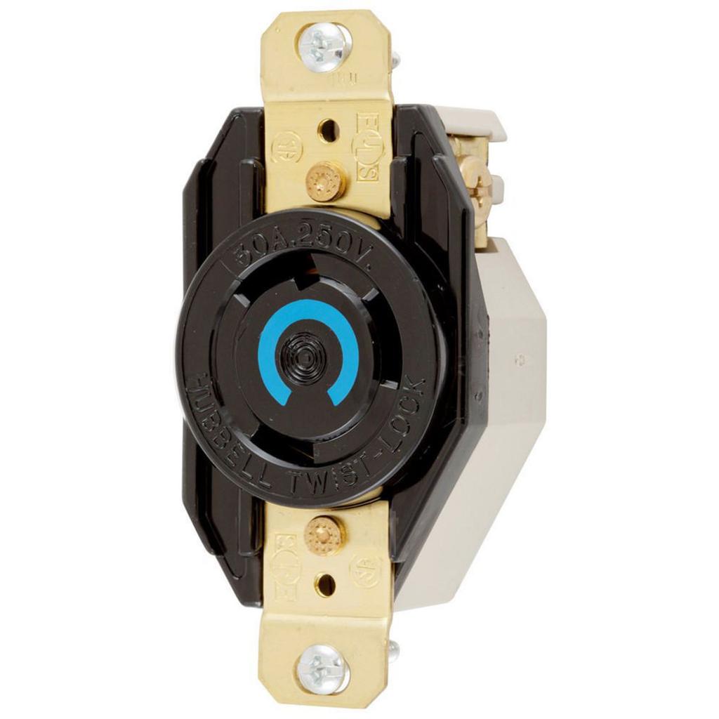 Hubbell Wiring Devices HBL2620 30 Amp 250 Volt 2-Pole 3-Wire NEMA L6-30R Black Single Flush Locking Receptacle