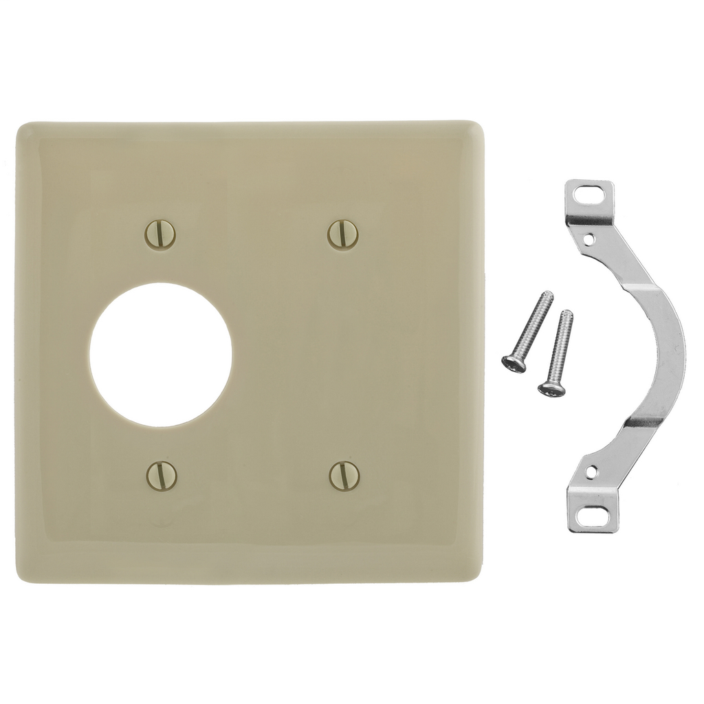 Hubbell Wiring Devices NP147I 2-Gang Ivory Nylon Standard 1-Blank 1-Single Receptacle Strap Mount Combination Wallplate