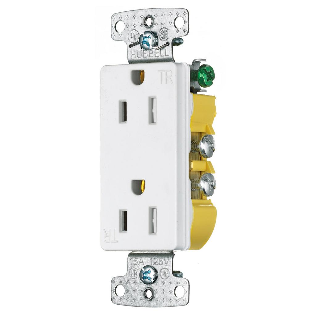 Hubbell Wiring Devices RRD15SWTR 15 Amp 125 Volt 2-Pole 3-Wire NEMA 5-15R White Decorator Duplex Receptacle