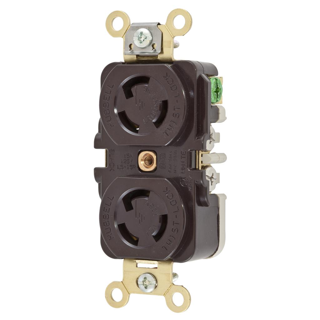 Hubbell Wiring Devices HBL4700 15 Amp 125 Volt NEMA L5-15R Brown Duplex Locking Receptacle