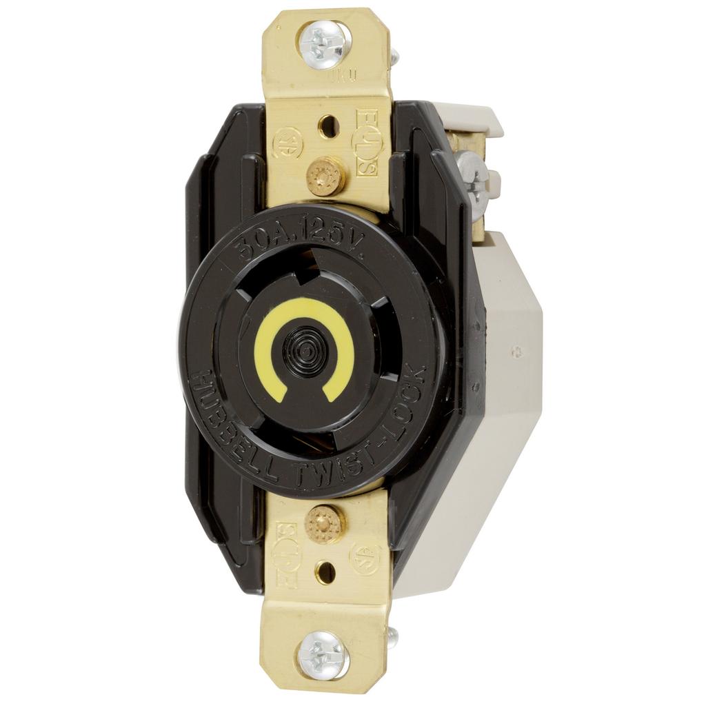 Hubbell Wiring Devices HBL2610 30 Amp 125 Volt 2-Pole 3-Wire NEMA L5-30R Black Single Flush Locking Receptacle