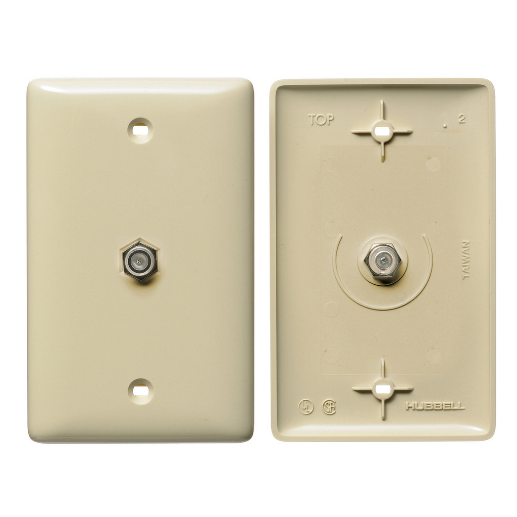 Hubbell Wiring Devices NS751I 1-Gang Ivory Thermoplastic Medium 1-F Coupler Molded-In Data Communication Plate
