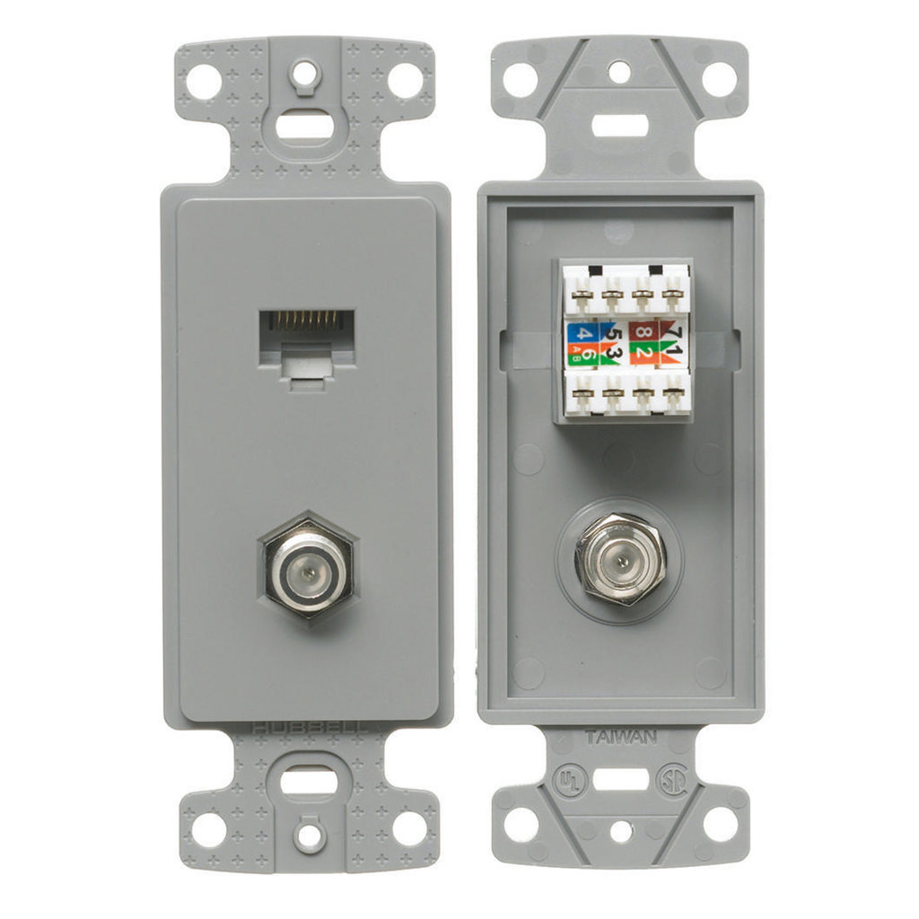 HUBB NS785GY PLATE, FRAME,W/F-CONN & CAT5E JACK,GY