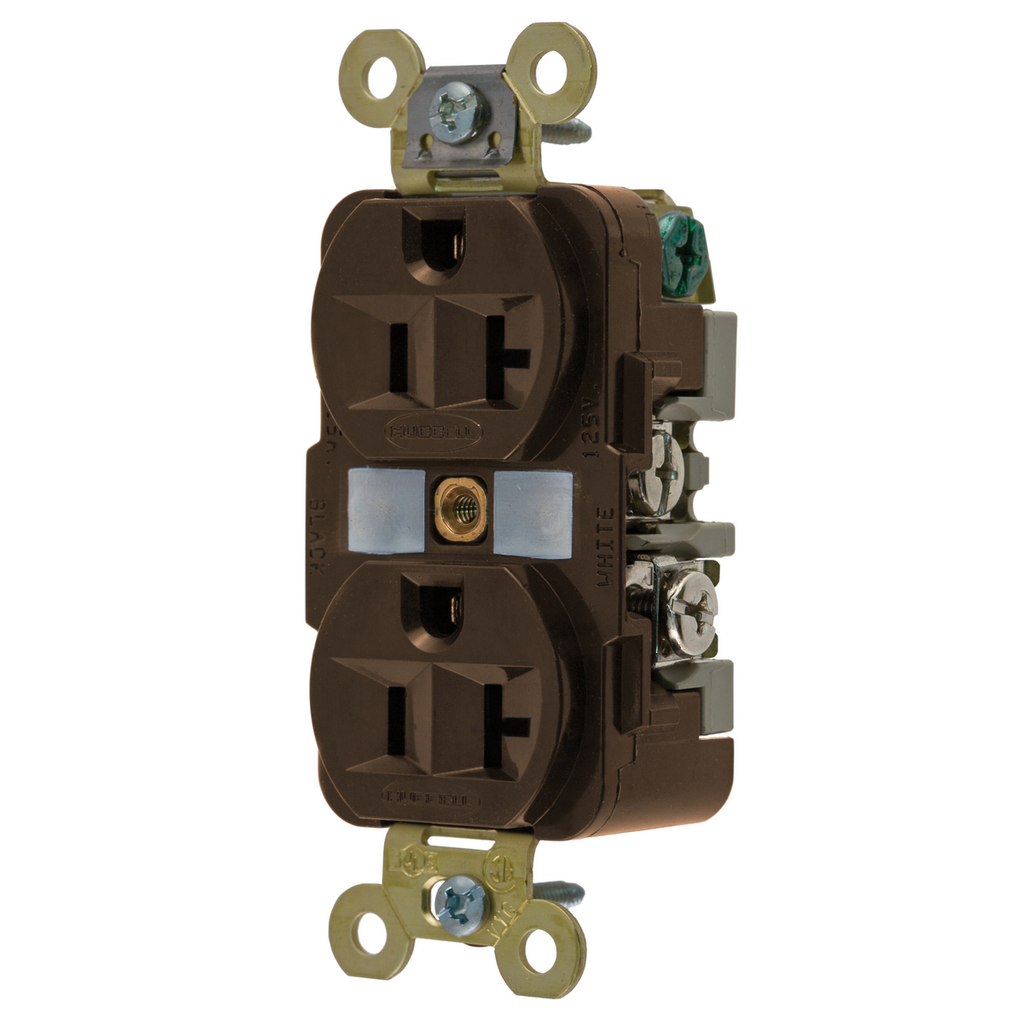Hubbell Wiring Devices HBL5362 20 Amp 125 Volt 2-Pole 3-Wire NEMA 5-20R Brown Straight Blade Duplex Receptacle