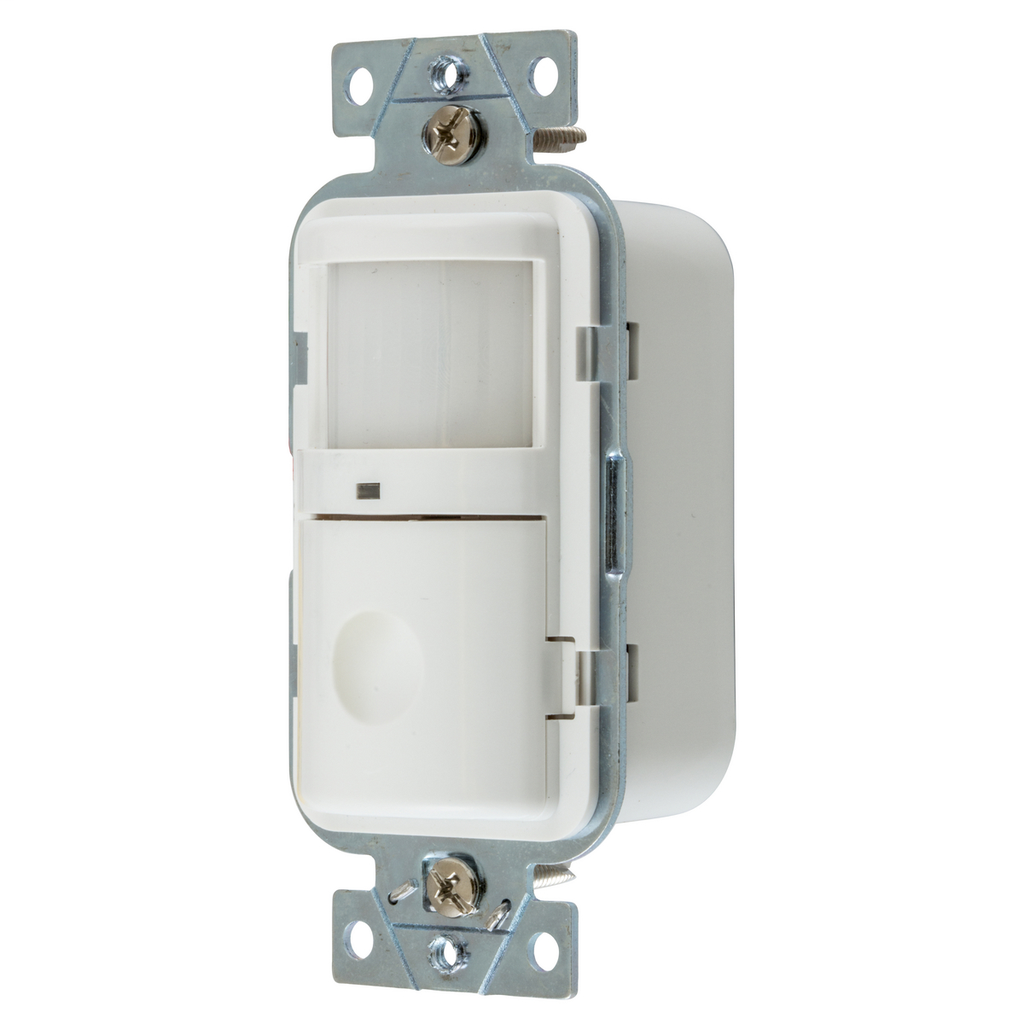 Hubbell Wiring Devices WS2000W 120/277 Volt White Manual Adjust and Manual/Auto-On Operation Passive Infrared Wall Switch