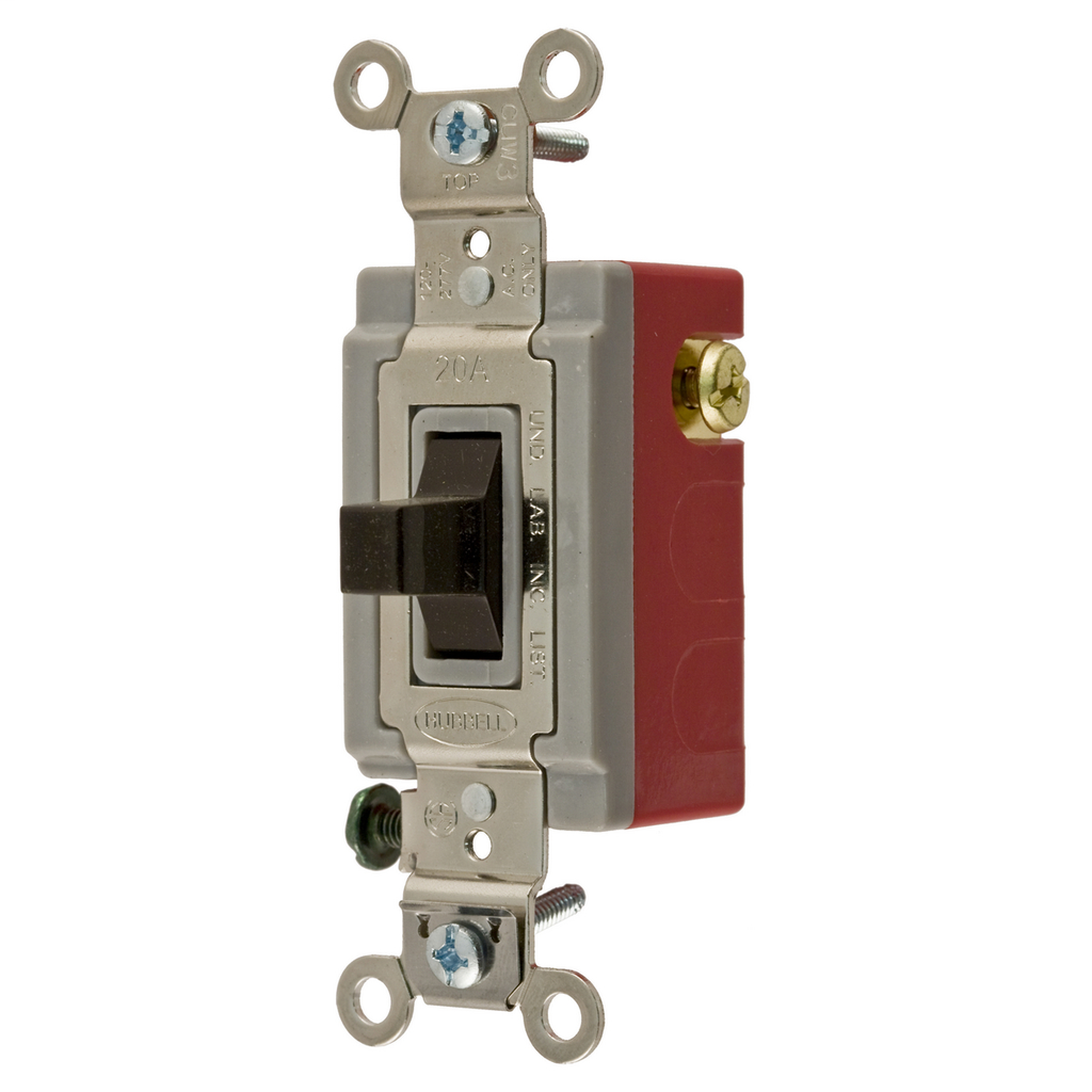 Hubbell Wiring Devices HBL1557 20 Amp 120/277 VAC SPDT Brown Toggle Switch