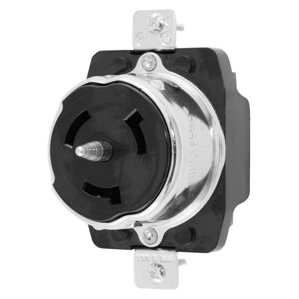 Hubbell Wiring Devices CS6369 50 Amp 125/250 VAC 3-Pole 4-Wire Black Locking Receptacle