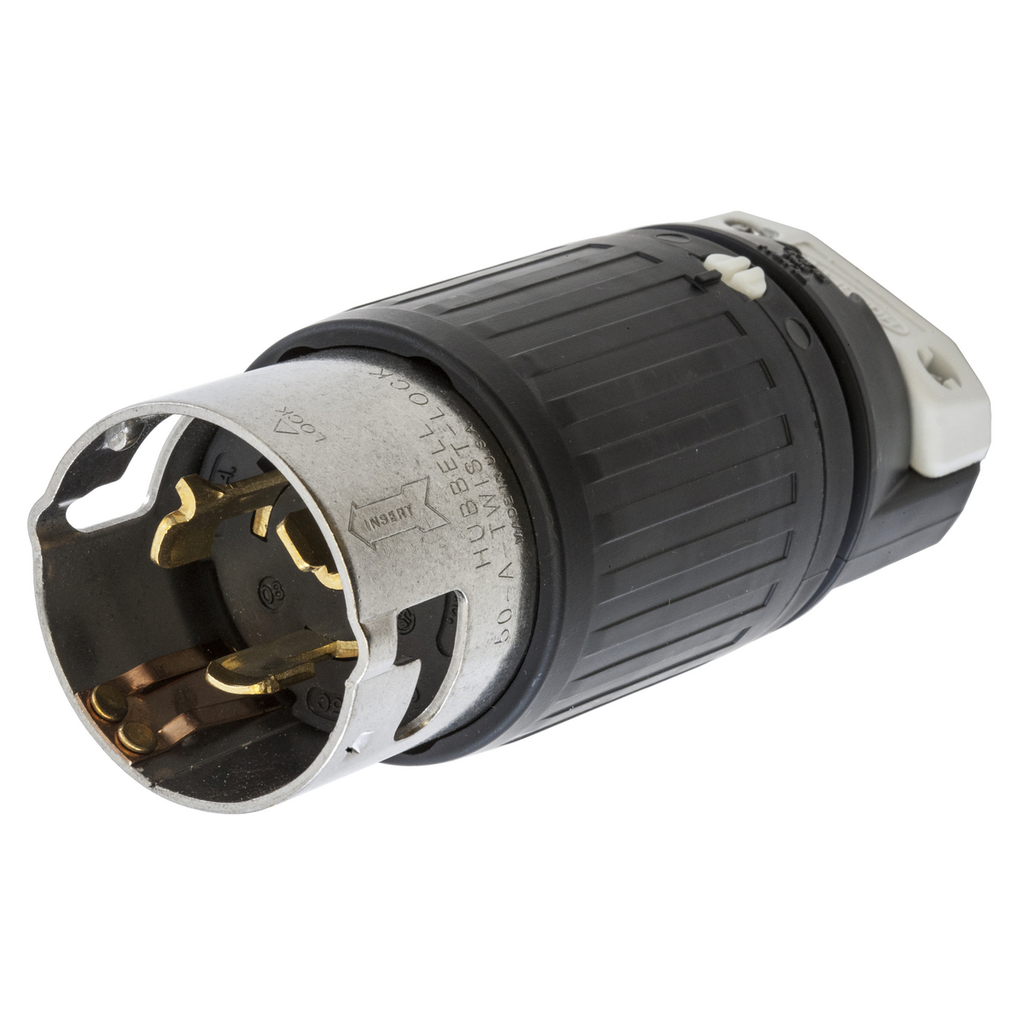 Hubbell Wiring Devices CS6365C 50 Amp 125/250 Volt 3-Pole 4-Wire Black and White Locking Connector Body
