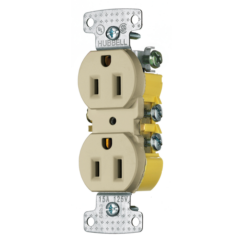 Hubbell Wiring Devices RR15I 15 Amp 125 Volt 2-Pole 3-Wire NEMA 5-15R Ivory Duplex Receptacle