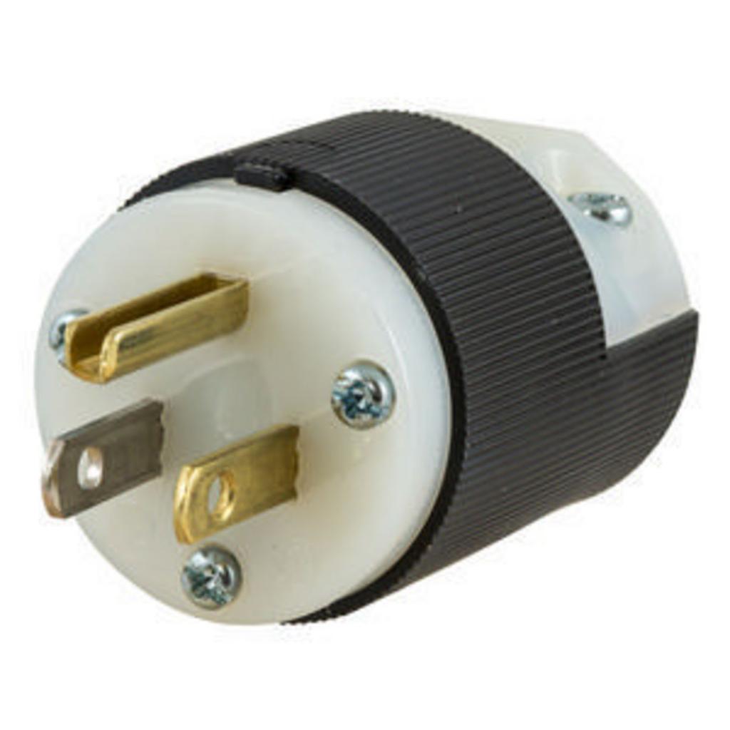 Hubbell Wiring Devices HBL5266C 15 Amp 125 Volt 2-Pole 3-Wire NEMA 5-15P Black/White Straight Blade Plug