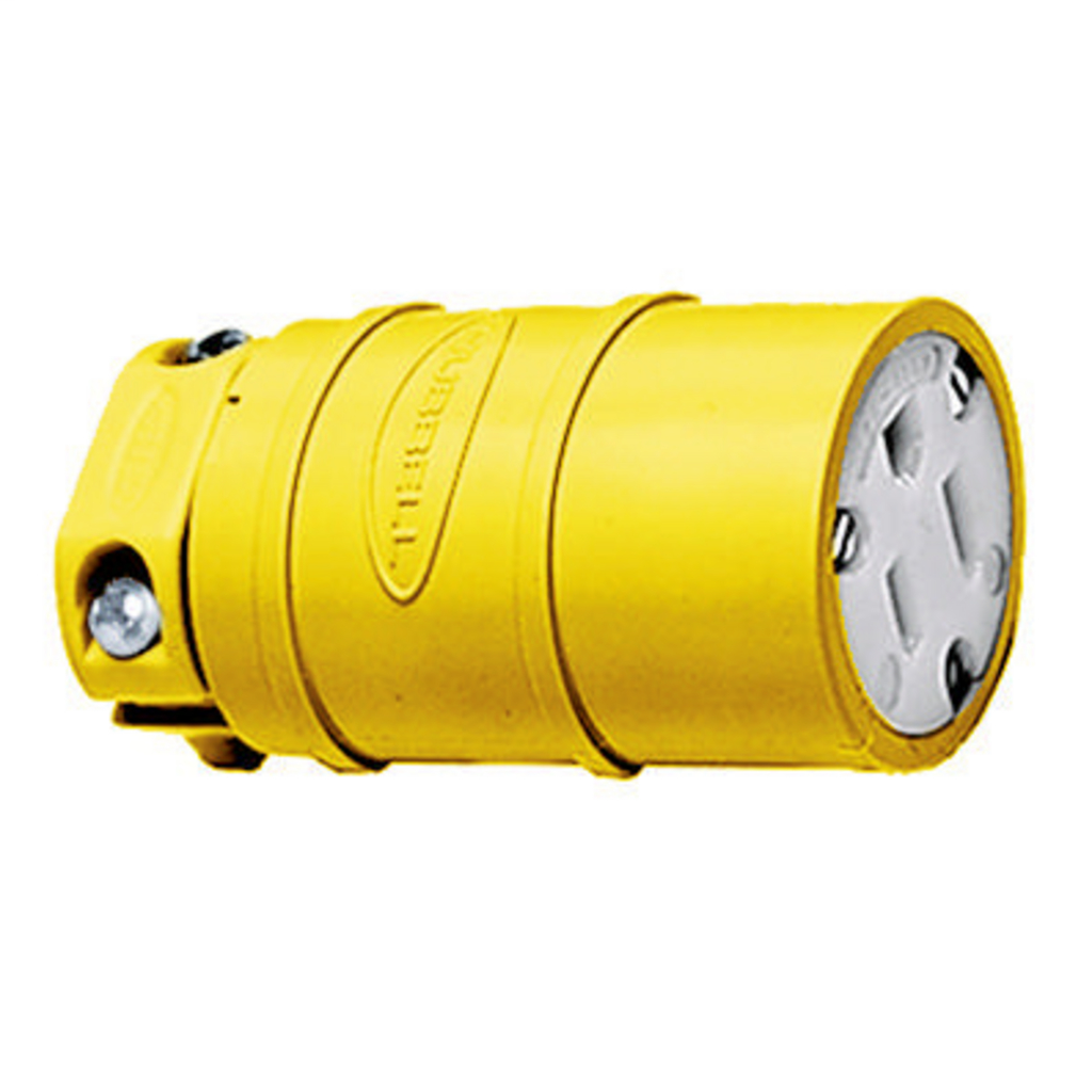 Hubbell Wiring Devices HBL1547 15 Amp 125 Volt 2-Pole 3-Wire NEMA 5-15R Yellow Straight Blade Connector