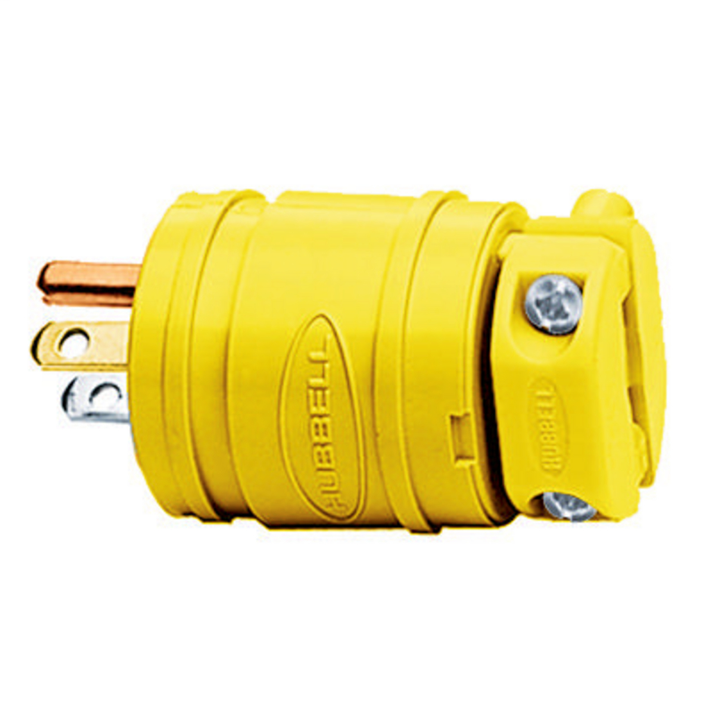 Hubbell Wiring Devices HBL1447 15 Amp 125 Volt 2-Pole 3-Wire NEMA 5-15P Yellow Straight Blade Plug