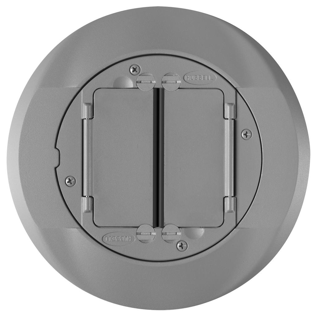 Hubbell Wiring Devices S1CFCGY Gray Cast Aluminum Concrete Floor Fire Rated Poke-Through Universal Carpet Flange and Cover