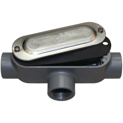 O SERIES/DURALOY 5 SERIES - ALUMINUM CONDUIT BODY WITH COVER AND GASKET- T TYPE - HUB SIZE 1 INCH - VOLUME 12.0 CUBIC INCHES
