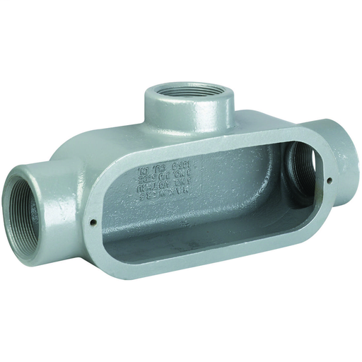 DURALOY 8 SERIES - IRON CONDUIT BODY - T TYPE - HUB SIZE 1/2 INCH -VOLUME 6.0 CUBIC INCHES