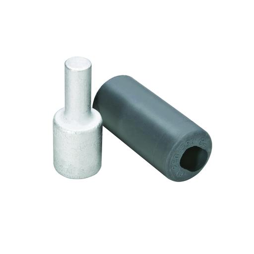 "Aluminum Compression Pin Adapter, 250 kcmil, 0.47"" Plug Dia, 1.22"" Plug Length, Al/Cu Rated, Tin Plated."