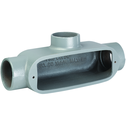 O SERIES/DURALOY 5 SERIES - MALLEABLE IRON CONDUIT BODY - T TYPE - HUBSIZE 1 INCH - VOLUME 12.0 CUBIC INCHES