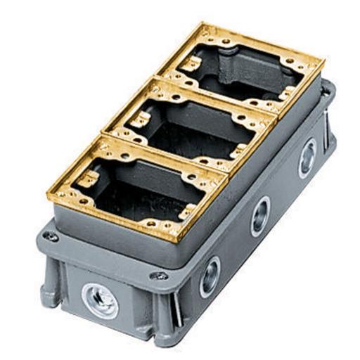 Flush Concrete Floor Box Series, 3-Gang, Rectangular Cast Iron Box, Deep, Fully Adjustable, Brass Top