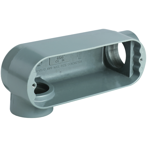 O SERIES/DURALOY 5 SERIES - ALUMINUM CONDUIT BODY - LR TYPE - HUB SIZE2-1/2 INCH - VOLUME 142.0 CUBIC INCHES