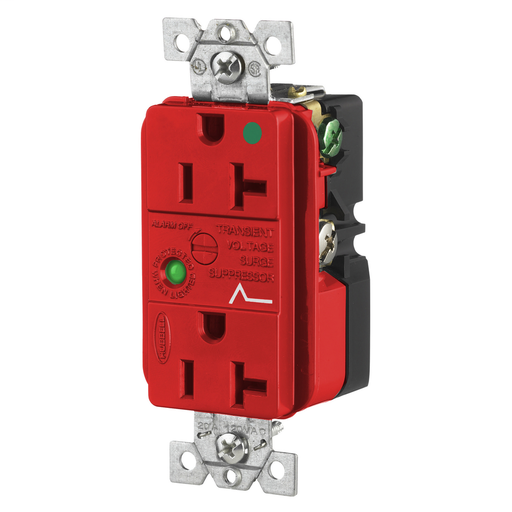 Surge Protective Devices, SPIKESHIELD Hospital Grade Surge Suppression Receptacle, Duplex, 20A 125V, 5-20R, Red