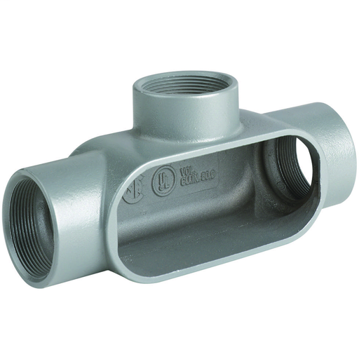 DURALOY 7 SERIES - ALUMINUM CONDUIT BODY - T TYPE - HUB SIZE 1-1/2 INCH- VOLUME 27.0 CUBIC INCHES