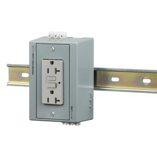 DIN Rail Utility Box, Complete Unit- GFCI, with Aux Contact, DIN Rail Box, 20A GFCI, Gray.