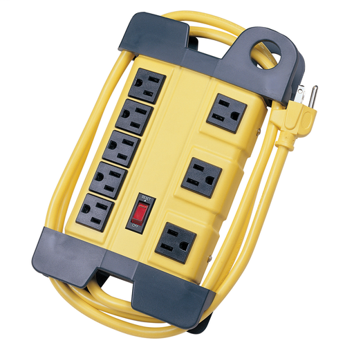 Surge Protective Devices, SPIKESHIELD TVSS Plug Strips, 15A 125V, 8-Outlet, 350 Joules, 6' Cord, Office White