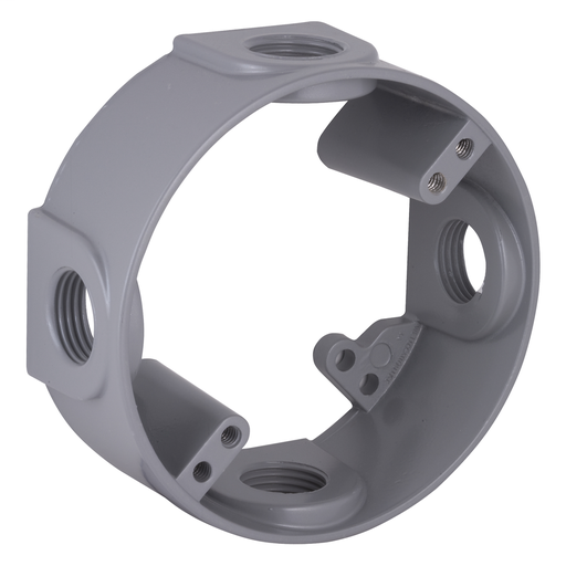 Mayer-Round Weatherproof Extension Adapter, Four 1/2 in. Threaded Outlets, Gray-1