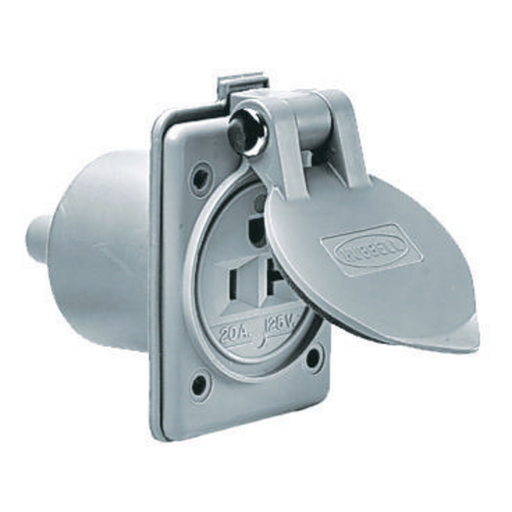 Straight Blade Devices, Outlet, Flanged, Marine, 20A 125V, 2-Pole 3-Wire Grounding, 5-20R, Gray, Single Pack.