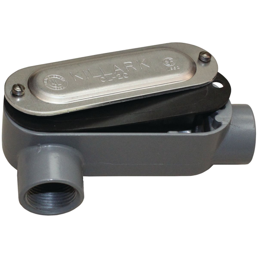 O SERIES/DURALOY 5 SERIES - ALUMINUM CONDUIT BODY WITH COVER AND GASKET- LR TYPE - HUB SIZE 1-1/4 INCH - VOLUME 32.0 CUBIC INCHES